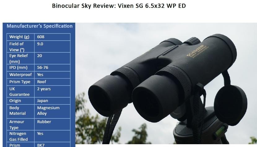 Recenze dalekohledu Vixen SG 6,5x32 ED - anglicky