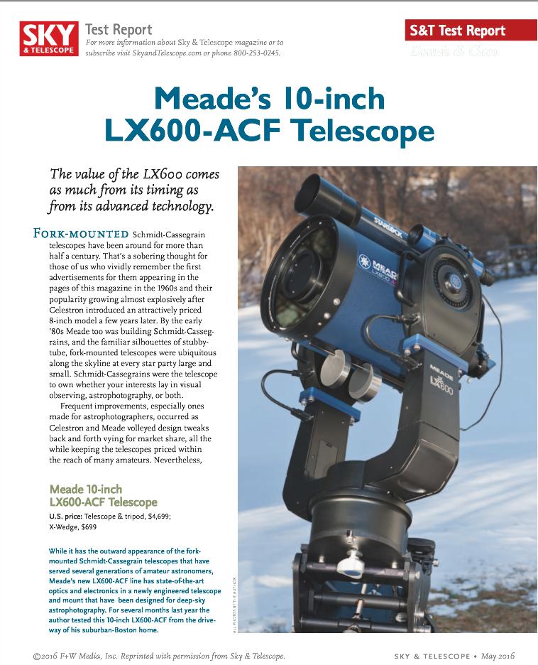 Test Meade LX600 Dennis Cicco 2016