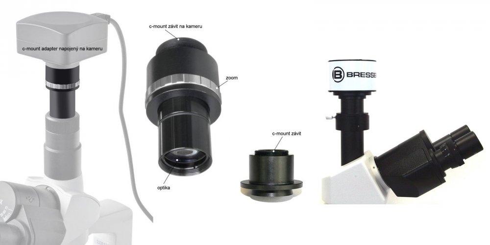 Připojení kamery k mikroskopu pomocí C-mount adapteru